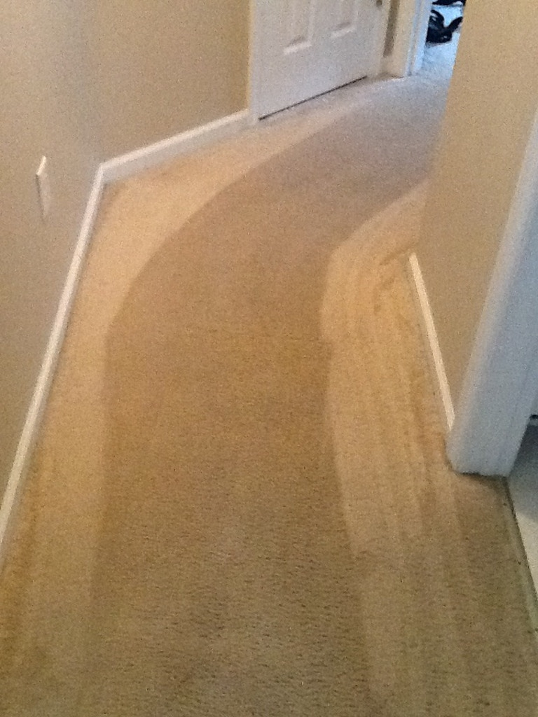 dirty hallway carpet cleaning after